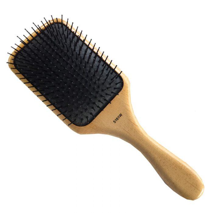 Wood Paddle Nylon Bristle Hair Brush